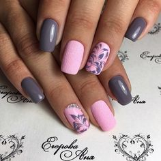 Beautiful patterns on nails, Dating nails, Fashion nails 2017, Grey and pink…