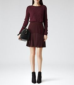 Womens Damson A-line Pleat Skirt - Reiss Sylvia £120