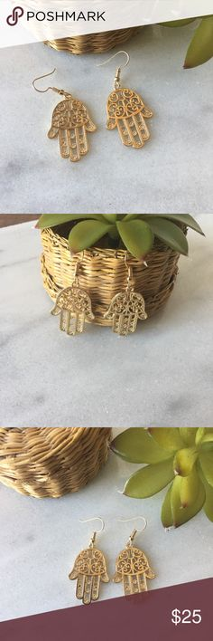 """Boho Hamsa gold earrings NEW! Fatima Hamsa Hand Earrings - Hand Of Fatima. These boho style earrings are gold plated zinc alloy drop earrings. They are lead and nickel free. The earrings are a bit large 1 1/4"""" x 3/4"""" but makes a great statement piece! pearl street Jewelry Earrings"""