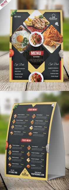 Download Free Restaurant Menu Table Tent Card PSD Template. This Restaurant Menu Table Tent Card design is suitable for fast foods, grill, jerk, hot alcohol pub, italian, mexican, american restaurants and any related food businesses, and with it your can showcase or promote products and services to increasing your sales. All main elements are customizable and easy to edit font, text, color, fully adobe photoshop format. This template download contains a two A4 size (front and back) 300 dpi…
