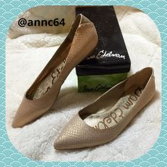 Sam Edelman Flats Style name is Colleen, pattern is snakeskin and color is Lattee, overall look is Classy. Leather upper and man made balance. Only wear is on right shoe from store try on. New in box. Sam Edelman Shoes Flats & Loafers