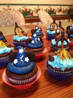 Disney Fantasia Sorcerer Hat and Brooms Cupcakes-exhibit only no recipe or tutorials. Disney EveryDay.Com