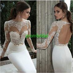 Bridal dresses,LONG wedding dresses ,long sleeve mermaid prom dresses,backless wedding dresses,appliques bridal dresses