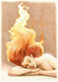 Commission: Fire Nymph by SerenaVerdeArt.deviantart.com on @DeviantArt