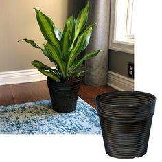 Misco 10 Inch Round Striped Plastic Outdoor Garden Planter Flower Pot, Brown