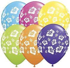 "6-24 Lot 11"" Hibiscus Latex Balloon Tropical Luau Latex Balloon Birthday Party"