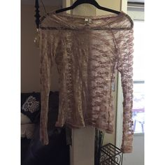 Mudd lace long sleeve Lace long sleeve. Great to wear over tank tops or even swim suits.  Color : light brownish/ purpleish Mudd Tops