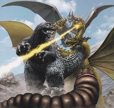 giantmonsterparty: Godzilla, Rodan, Mothra VS King Ghidorah by Yuji Kaida. All Godzilla Monsters, Cool Monsters, Horror Monsters, Famous Monsters, Classic Monster Movies, Classic Monsters, Japanese Film, Japanese American, Original Godzilla
