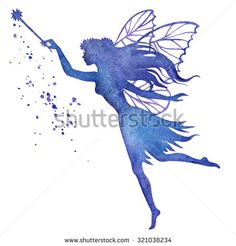 stock-vector-hand-paint-fairy-with-magic-wand-watercolor-vector-silhouette-illustration-321038234.jpg (450×470)