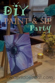 Throw a paint and sip party on the cheap!  You and your friends will have a blast in the comfort of your own living room.