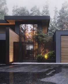 Architecture House Design The Best Dream House Exterior Ideas - House Topics Dream Home Design, Modern House Design, Modern Wood House, Modern Fence Design, House Gate Design, Yard Design, Modern Architecture House, Interior Architecture, Black Architecture