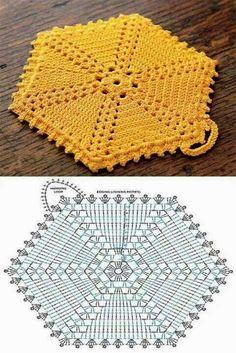 Hexagon groß häkeln - crochet Free Crochet Potholder Patterns These are all links to Free Potholder Patterns. Crochet Potholder Patterns, Crochet Motifs, Crochet Dishcloths, Crochet Blocks, Crochet Diagram, Crochet Chart, Crochet Squares, Crochet Doilies, Hexagon Crochet