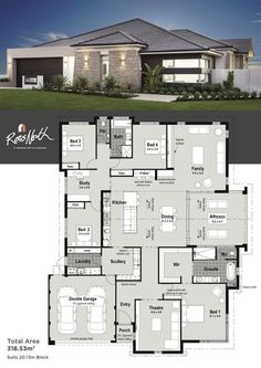 Small Modern House Plans One Floor. 20 Small Modern House Plans One Floor. Home Design with 4 Bedrooms Modern House Floor Plans, Dream House Plans, Modern House Design, Single Floor House Design, House Layout Plans, House Layouts, Small Modern Home, House Blueprints, Bedroom House Plans