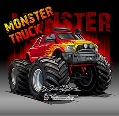 Monster Trucks. Artist-Azater Festa Monster Truck, Pictures To Draw, Cute Pictures, Monster Track, Cartoon Cartoon, Truck Art, Car Drawings, Automata, Bigfoot