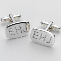 Engraved Modern Initial Cufflinks - Barrel