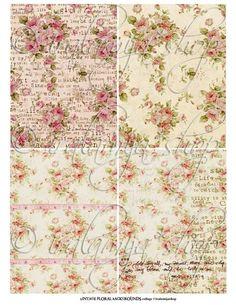 VINTAGE FLORAL BACKGROUNdS Collage Digital Images by iralamijashop, $4.00