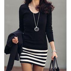 Stylish Scoop Neck Long Sleeve Striped Dress For Women
