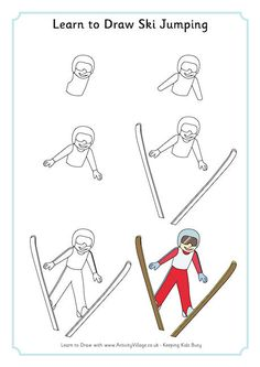 Learn to draw ski jumping
