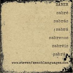 The Spanish verb saber (to know) in the future tense. It is irregular.