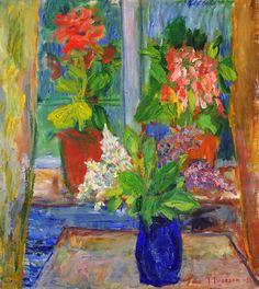 Ivan Ivarson (Swedish, 1900 - 1939)  Flowers in a Window