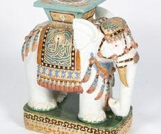 Asian Ceramic Figural Plant Standgarden Seat Decorated