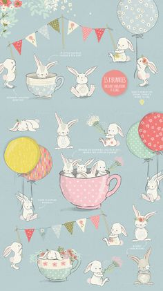 40% off! The Fresh Spring Collection: Hand drawn illustrations of cute bunnies.
