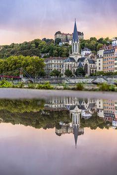 Lyon, France - Rainy sunset on Saint-Georges