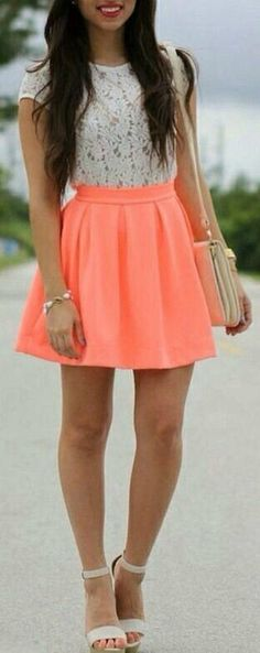 Neon Peach mini skirt and floral white top fashion