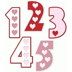 Silhouette Design Store - View Design #74218: hearts numbers 1 2 3 4 5