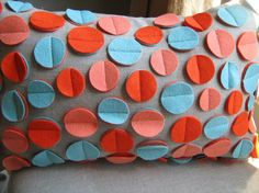 Disc Pillow in Aqua Coral and Dark Orange by dedeetsyshop on Etsy, $35.00