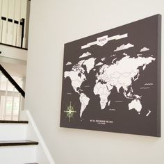 World Map Art INTERACTIVE Family Map // Mark the places you've visited //  Personalized Gallery Wrapped Canvas or Print // H-I05-1PS AA4 (56.00 USD) by PaperRamma