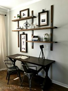 Simpson Strong-Tie Wall Mounted Shelves - Sawdust 2 Stitches - Home Design Inspiration Diy Wand, Industrial House, Industrial Interiors, Rustic Industrial, Industrial Furniture, Industrial Shelves, Industrial Lighting, Industrial Style Bedroom, Industrial Windows