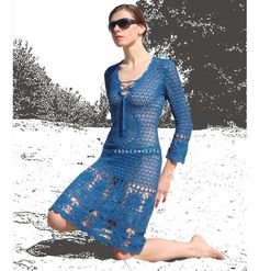 Crochet designer dress PATTERN, detailed TUTORIAL for every row + HQ charts, crochet cocktail dress pattern, 3/4 sleeves crochet dress.