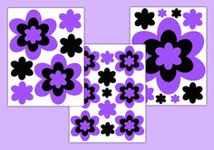 PURPLE FLOWER DECALS Girl Floral Wall Art Stickers Teen Room Decor Kids Childrens Bedroom Decorations Hot Pink Rainbow Turquoise Teal Blue #decampstudios