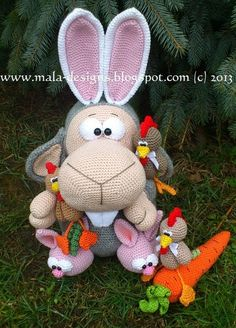 Amigurumi falscher Hase (Add-on), Häkelanleitung  van mala designs op DaWanda.com