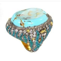 Deep blue @julesjewelsgems Koi pond carved into a large Persian turquoise surrounded by diamonds and crushed stone micro-mosaic #oneofakind #micromosaic #highjewellery #repost