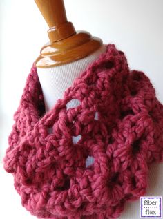 Start off 2015 sweet with @fiberflux's Agnes Lace Cowl made with Wool-Ease Thick & Quick in Raspberry. Check out the crochet pattern on her blog.