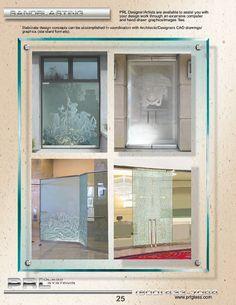 Many Sandblasted glass options to choose from, Surface Sandblast, Ornamental, Mythical, Artistic, Border Sandblast Designs, Logos, Oceanic, Nature, Custom Artwork & Designs.