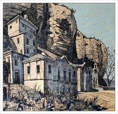"""SHELTERED BY THE HEAVENS AND THE ROCKS"" by Badusev.deviantart.com on @deviantART  #shelter #heaven #rocks #drawing #art"