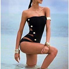 Women's Sexy Black One-piece Swimsuit Button Design - USD $ 17.99
