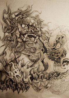 phoenix bird by yodaken on DeviantArt C Tattoo, Full Tattoo, Yakuza Tattoo, Lion Tattoo, Sleeve Tattoos, Foo Dog Tattoo Design, Tattoo Designs, Tattoo Ideas, Dragon Tattoos For Men