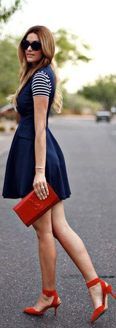 stripes, navy dress, red clutch, red heels