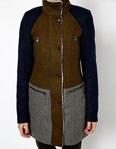 Image 3 of Vero Moda Color Block Teddy Collar Coat