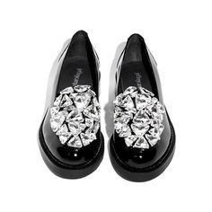 Jeffrey Campbell Ledger Diamond Loafers ($99) ❤ liked on Polyvore featuring shoes, loafers, chunky black shoes, black diamond footwear, embellished shoes, decorating shoes and diamond shoes