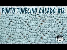 Punto calado tunecino #12 - Crochet tunecino - Tutorial paso a paso - YouTube