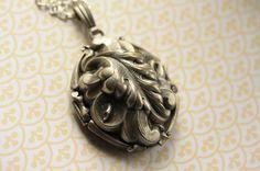 Large Antiqued Silver Ornate Vintage Locket Necklace by FreshyFig