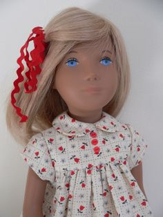 Cotton dress with tiny tulips and ricrac ties for Sasha doll, by chirnside on eBay