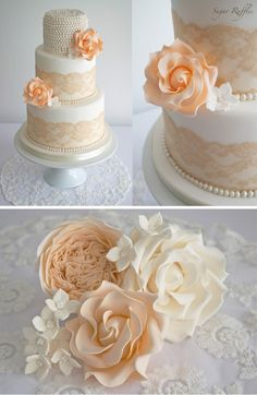 PEACH VINTAGE LACE & PEARLS WEDDING CAKE. Sugar Ruffles, London, UK #wedding_cakes