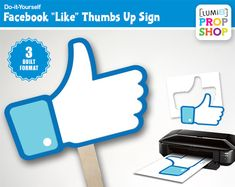 Facebook Like Thumbs Up Photo Booth Prop Signs by LUMi8PropShop