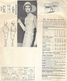 ITEM DESCRIPTION:   ✦ Circa: 1961  ✦ Details: ONE PIECE DRESS and JACKET by VOGUE - DESIGNER: JEAN DESSES - This pattern and design was highlighted in the June/July 1962 Vogue Magazine, see pictures . ✦ Size/Measurements(Inches): Size: 14    Bust: 34  Waist: 26  Hip: 36  ~ Condition: Brand New Reproduced Copy. All pieces present and correct, with full instructions.  ~ Please Note: You are buying a Professional Digitally Reproduced copy of this sewing pattern (copied from...